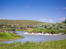 Kreuzung des Flusses am Kampf des Little Bighorn Stockfoto