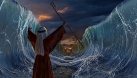 Kreuzung des Roten Meers mit Mosese Stockfotos