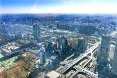 Kreuzungen Changan-Straße 3. Ring Rd Guomao Beijing China lizenzfreie stockfotos