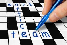 Kreuzworträtsel - Arbeit, Büro und Team Stockfoto