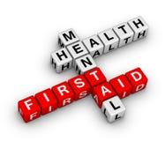 Kreuzworträtsel der Ersten ERSTE HILFE der psychischen Gesundheiten Lizenzfreie Stockfotos
