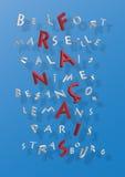 Kreuzworträtsel der französischen Städte stock abbildung
