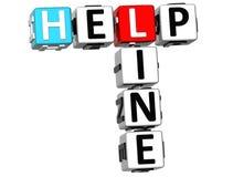 Kreuzworträtsel der Help-Line-3D auf weißem Hintergrund Stockbilder