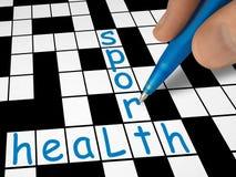 Kreuzworträtsel - Gesundheit und Sport Lizenzfreies Stockbild