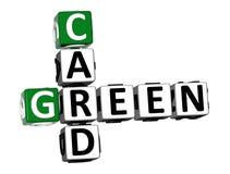 Kreuzworträtsel-Green Card-Wort der Wiedergabe-3D über weißem Hintergrund vektor abbildung