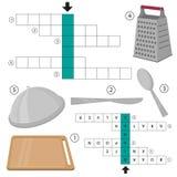 Kreuzworträtsel-Küchengeschirr und kochen Ausrüstung Bildungs-Spiel für Kinder Vektor Lizenzfreie Stockbilder