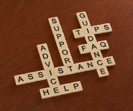 Kreuzworträtsel mit Wörtern stützen sich, helfen, FAQ, Unterstützung Cust stockbild