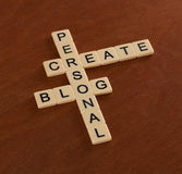 Kreuzworträtsel mit Wörtern stellen persönliches Blog her Stockfotos