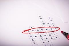 Kreuzworträtsel mit Worterfolg Lizenzfreie Stockfotos