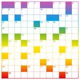 Kreuzworträtsel-Regenbogen-Steigung gefärbt mit leeren Kästen Lizenzfreie Stockfotografie