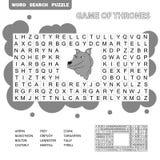 Kreuzworträtsel - Suchwortspiel, Ausbildungsspiel für Kinder - Spiel von Thronen lizenzfreie abbildung