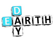 Kreuzworträtsel Text des Tages der Erde 3D Stockfoto