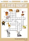 Kreuzworträtselkonzept der wilden Tiere lizenzfreie abbildung