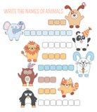 Kreuzworträtseltiere, Bildungsspiel mit Wörtern für Kinder Lizenzfreies Stockfoto