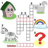 Kreuzworträtselwortspiel für Kinder Stockbild