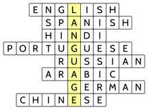 Kreuzworträtsel für die Wort Sprache und die 8 der weit Lautsprachen der Welt Lizenzfreie Stockfotografie