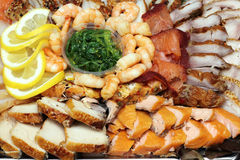 Krevette, fish slices assortment on Party plate Royalty Free Stock Images