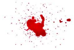 Krew krople na białym tle Obrazy Royalty Free