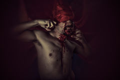 Krew, wampir z ogromnym czerwonym żakietem i krew, Straszny, Męski, Zdjęcia Stock