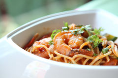 Krewetka spaghetti obraz royalty free