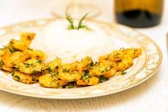 Krewetka z ryż i białym winem fotografia royalty free