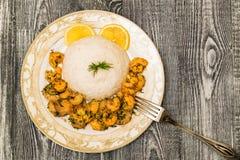 Krewetka z ryż i białym winem zdjęcia royalty free