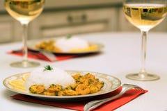 Krewetka z ryż i białym winem obrazy stock