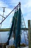 Krewetkowa łodzi ryba Zarabia netto trawlera Zdjęcie Stock