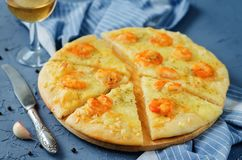 Krewetkowego czosnku tandetna pizza Fotografia Royalty Free