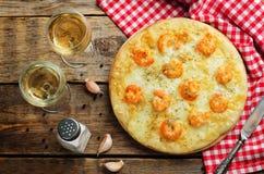 Krewetkowego czosnku tandetna pizza Obraz Stock
