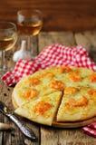 Krewetkowego czosnku tandetna pizza Zdjęcia Stock