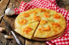 Krewetkowego czosnku tandetna pizza Obraz Royalty Free
