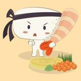Krewetkowego Ebi Nigiri suszi śliczna kreskówka ilustracji
