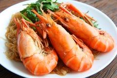 Krewetkowi wermiszel tajskie jedzenie zdjęcia stock