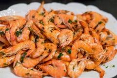 Krewetkowych owoce morza krewetek posiłku kucharstwa domu kuchni talerza naczynia obiadowa kuchenka Zdjęcie Royalty Free