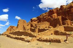 Krewni Kletso osady ruiny, Chaco jar, Nowy - Mexico fotografia royalty free