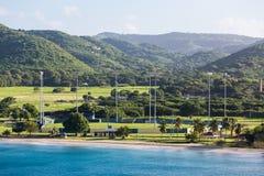 Kricket-Feld auf der Küste von St. Croix Lizenzfreies Stockfoto