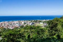 Kricket-Feld und Rosseau Dominica Lizenzfreie Stockbilder