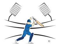 Kricket-Schlagmann, der einen Schuss in einem Stadion - Vektor-Illustration spielt stockfotos