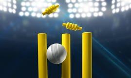 Kricket-Tore und Ball in einem Stadion stock abbildung