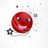 Kricket trägt Konzept mit rotem Ball zur Schau Lizenzfreie Stockbilder