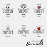 Kricket, Volleyball, Fußball, Basketball, Kürbis, Rugby wird Logos und Aufkleber für irgendwelche Gebrauch deutlich Lizenzfreie Stockbilder