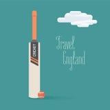 Kricketball- und Schlägervektorillustration mit Reise nach England zitieren lizenzfreie abbildung
