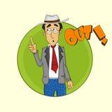 Kricketschiedsrichter, der heraus darstellt Lizenzfreies Stockfoto