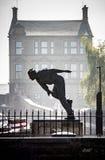 Kricketspelare Fred Truman Statue Skipton Yorkshire för snabb kastare Royaltyfria Foton