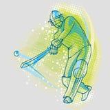 Kricketspieler auf Grafiken Hintergrund, Vektorbild lizenzfreie abbildung