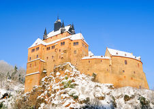 Kriebstein castle under snow. Saxony, Germany Royalty Free Stock Images