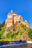 Kriebstein slott i Sachsen, Tyskland arkivbild