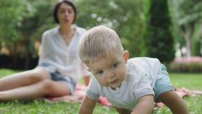 Kriechender kleiner Junge im Park stock footage