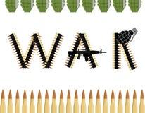 Krieg Buchstaben von den Schulterriemen-Bandkugeln Stockbild